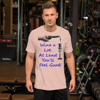 Bella and Canvas Short-Sleeve Unisex T-Shirt: Wine a lot 2 blue text