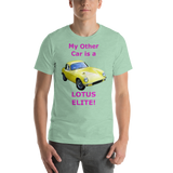 Bella and Canvas Short-Sleeve Unisex T-Shirt: Lotus Elite magenta text