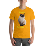 Bella and Canvas Short-Sleeve Unisex T-Shirt: kneads me Siamese yellow text
