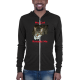 B & C Unisex zip hoodie: My cat kneads me domestic red text