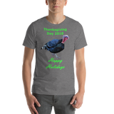Bella and Canvas Short-Sleeve Unisex T-Shirt: Happy Thanksgiving live 2018 green text