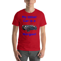 Bella and Canvas Short-Sleeve Unisex T-Shirt: Morgan blue text