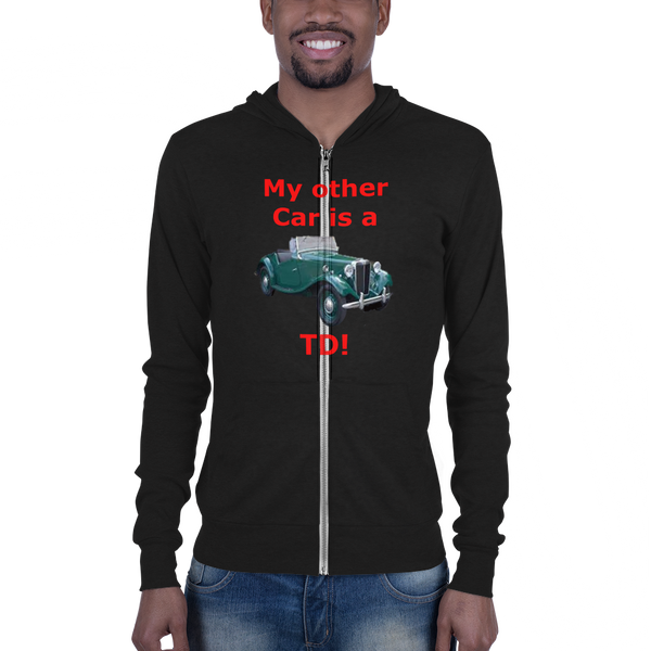 Bella and Canvas Unisex zip hoodie: TD red text