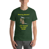 Bella and Canvas Short-Sleeve Unisex T-Shirt: Sharing Works yellow text