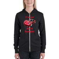 Bella and Canvas Unisex zip hoodie: Alfa Female red text
