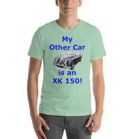 Bella and Canvas Short-Sleeve Unisex T-Shirt: XK 150 blue text