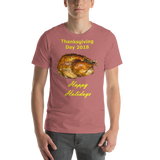 Bella and Canvas Short-Sleeve Unisex T-Shirt: Thanksgiving 2018 roast yellow text