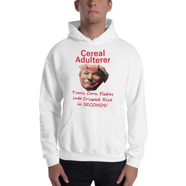 Gildan Hooded Sweatshirt: Cereal adulterer red text