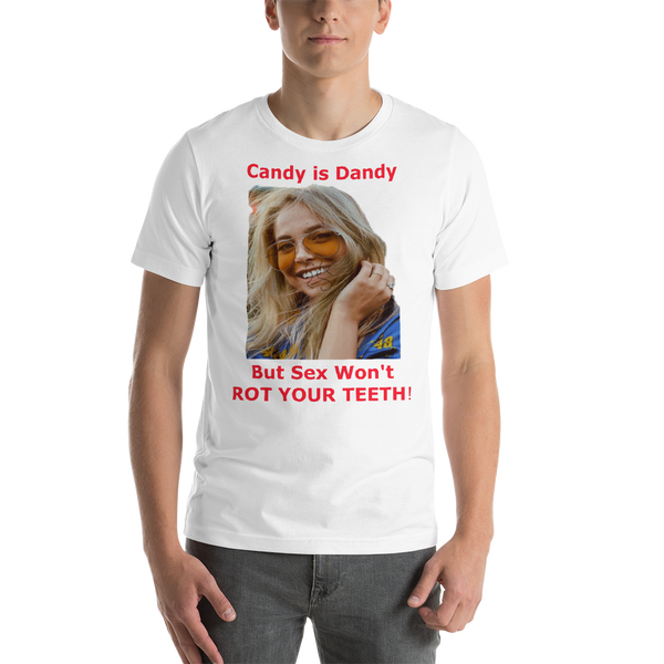 Bella and Canvas Short-Sleeve Unisex T-Shirt: Candy is Dandy WF red text