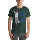 Bella and Canvas Short-Sleeve Unisex T-Shirt: Millions of Taxpayer Dollars blue text
