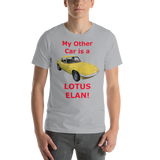 Bella and Canvas Short-Sleeve Unisex T-Shirt: Lotus Elan red text