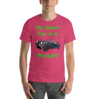 Bella and Canvas Short-Sleeve Unisex T-Shirt: Morgan green text