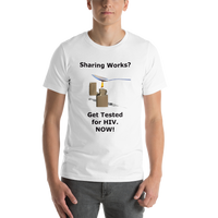 Bella and Canvas Short-Sleeve Unisex T-Shirt: Sharing works black text