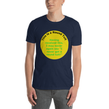 Gildan Short-Sleeve Unisex T-Shirt: Round Tuit green text on yellow, I not you