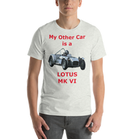 Bella and Canvas Short-Sleeve Unisex T-Shirt: Lotus MK VI red text