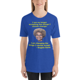 Bella and Canvas Short-Sleeve Unisex T-Shirt: Angela Davis quote yellow text
