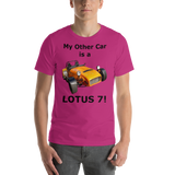 Bella and Canvas Short-Sleeve Unisex T-Shirt: Lotus 7 black text