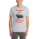 Gildan Short-Sleeve Unisex T-Shirt: Three wheels red text