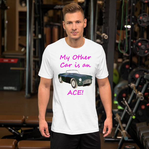 Bella and Canvas Short-Sleeve Unisex T-Shirt: Other car Ace magenta text