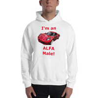 Gildan Hooded Sweatshirt: Alfa Male red text
