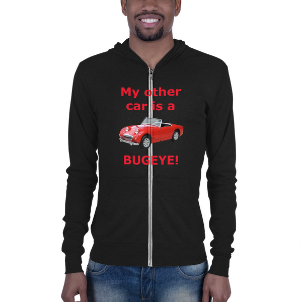 B & C Unisex zip hoodie: Bugeye red text
