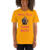 Bella and Canvas Short-Sleeve Unisex T-Shirt: ROTC magenta text