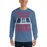 Gildan Long Sleeve T-Shirt Harness the Sun red text