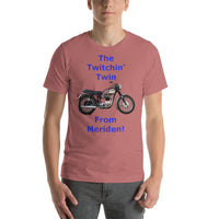 Bella and Canvas Short-Sleeve Unisex T-Shirt: Twitchin twin blue text