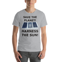 Bella and Canvas Short-Sleeve Unisex T-Shirt: harness the sun black text