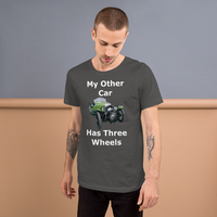 Bella and Canvas Short-Sleeve Unisex T-Shirt: Three wheels white text