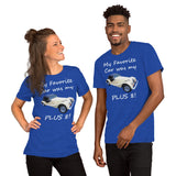 Bella and Canvas Short-Sleeve Unisex T-Shirt: Favorite car Plus 8 white text