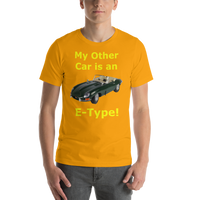 Bella and Canvas Short-Sleeve Unisex T-Shirt: E-Type yellow text