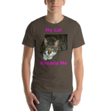 Bella and Canvas Short-Sleeve Unisex T-Shirt: kneads me Domestic magenta text