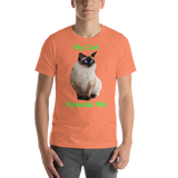 Bella and Canvas Short-Sleeve Unisex T-Shirt: kneads me Siamese green text