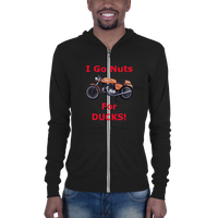 Bella and Canvas Unisex zip hoodie: Nuts for Ducks red text
