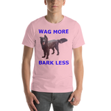 Bella and Canvas Short-Sleeve Unisex T-Shirt: Wag More, Bark Less Blue Text