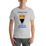 Bella and Canvas Short-Sleeve Unisex T-shirt: Joseph Lucas Prince of Darkness Blue Text