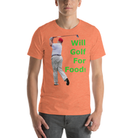 Bella and Canvas Short-Sleeve Unisex T-Shirt: will golf for food green text