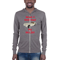 Bella and Canvas Unisex zip hoodie: still had XK 120 red text