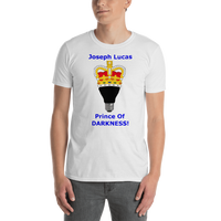 Gildan Short-Sleeve Unisex T-Shirt--Joseph Lucas Prince of Darkness Blue Text