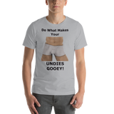 Bella  and Canvas Short-Sleeve Unisex T-Shirt: Undies gooey black text