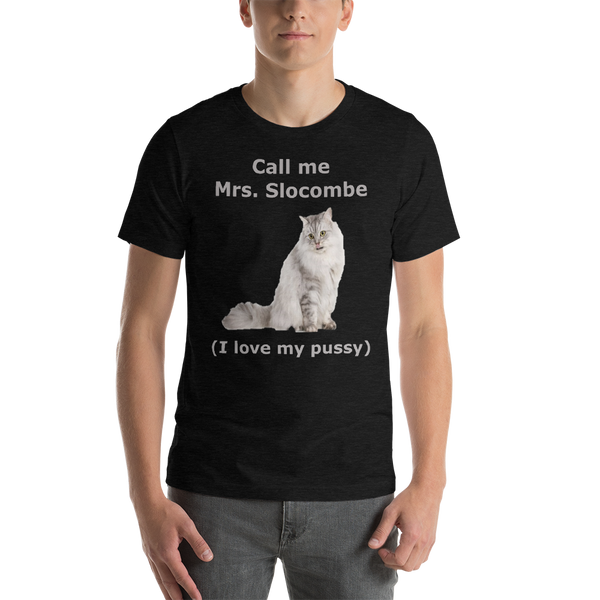 Bella and Canvas Short-Sleeve Unisex T-Shirt Mrs Slocombe Silver text