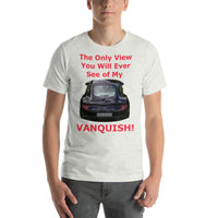 Bella and Canvas Short-Sleeve Unisex T-Shirt: Only view Vanquish red text