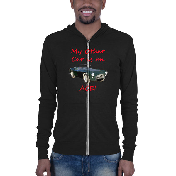 Bella and Canvas Unisex zip hoodie: Other car Ace red text