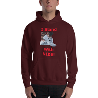 Gildan Hooded Sweatshirt: Nike red text