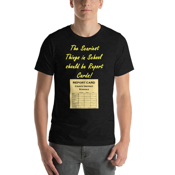 Bella and Canvas short sleeve tee shirt Scariest thing in school yellow text