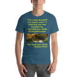 Bella and Canvas Short-Sleeve Unisex T-Shirt: The Road Not Taken yellow text