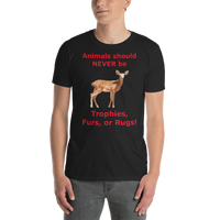 Gildan Short-Sleeve Unisex T-Shirt: Animals should NEVER be red text