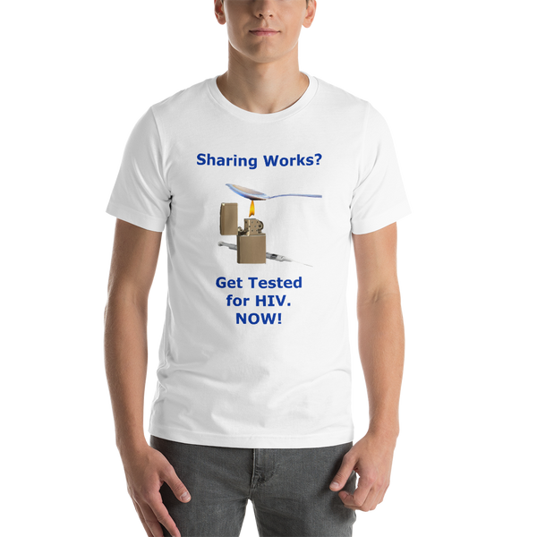 Bella and Canvas Short-Sleeve Unisex T-Shirt: Sharing Works blue text