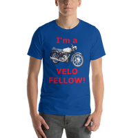 Bella and Canvas Short-Sleeve Unisex T-Shirt: Velo Fellow red text